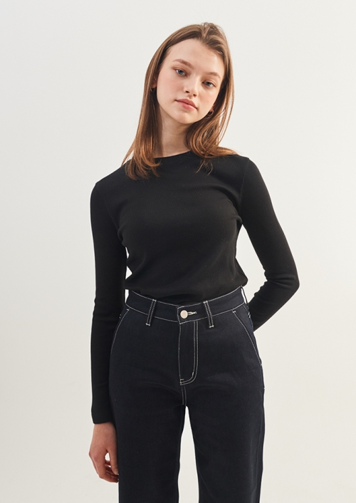 WOMENS BASIC SLIM T-SHIRTS_BK (PWTZ1RLX67WOBK)